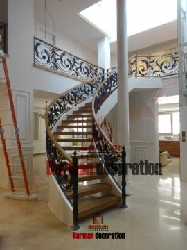 پله گرد - پله چوبی - پروژه پاسداران
