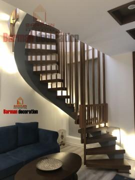 پله مارپیچ چوبی پله گرد فلزی