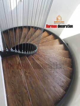 پله دومحور با نرده سیم بکسل