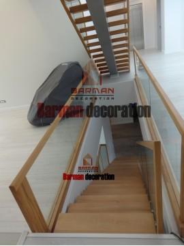 پله چوب- پله صاف - نرده شیشه- هندریل چوبی - پله پیچ - پله گرد - پله مارپیچ -