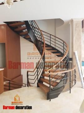 پله گرد پله پیچ نرده چوبی