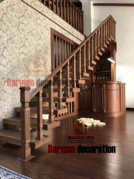 پله گرد دکوراتیو نرده چوبی