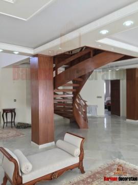 پله گرد پله پیچ نرده مدرن چوبی