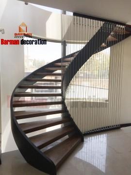 پله گرد - پله پیچ - نرده کابلی