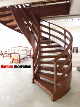 پله گرد - پله پیچ - نرده چوبی مدرن